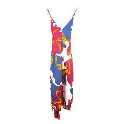 unbalanced sleeveless draped pattern dress multi